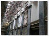 12 East wall -you can see the new plasterwork and flat stone columns, called pilasters, in between the niches